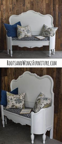 25 Headboard Benches   How to Make Your Own   Furniture in a new way     Learn how to turn an old headboard and footboard into this upcycled bench   Perfect accent