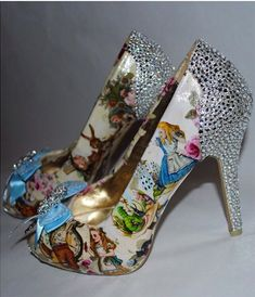 inspiration only/// decoupage, rhinestones, shoe clip