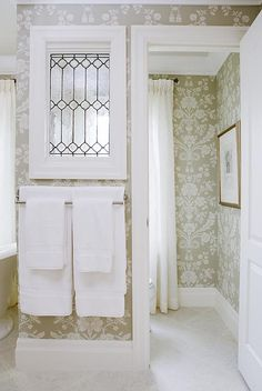 Sarah Richardson Design, photograph by Stacey Brandford old window being used in this interior water closet.