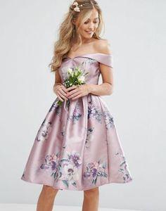 Chi Chi London Off Shoulder Satin Midi Dress In Floral Print