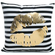 """Kingla Home Home Sofa Pillowcases Black Striped Gold Lips 18"""" X 18""""... ❤ liked on Polyvore featuring home, home decor, throw pillows, gold home accessories, gold home decor, square throw pillows, gold toss pillows and valentine home decor"""