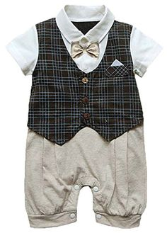 eb7d24a14256b Infant Toddler Boy Baby Bowknot Gentleman Romper Jumpsuit Outfit Plaid  Clothes  Amazon.co.