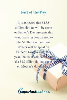 Fact of the day It is expected that $15.8 million dollars will be spent on Father's Day presents this year, that is in comparison to the $1.3billion…million dollars will be spent on Father's Day presents this year, that is in comparison to the $1.3billion dollars spent on Mother's day in May.