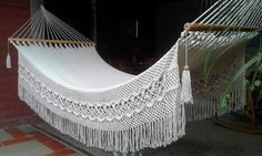 Queen Hammock (extra thickness with special side embroidery Macrame style spider EUR) by HamacArt Garden Hammock, Hammock Swing Chair, Hanging Hammock, Swinging Chair, Backyard Retreat, Backyard Patio, Macrame Curtain, Beautiful Dream, Outdoor Living