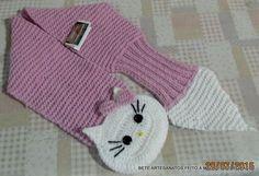 Blog da Bete Artesanatos: Cachecol Infantil em Tricô e Crochê Hello Kity - Alice