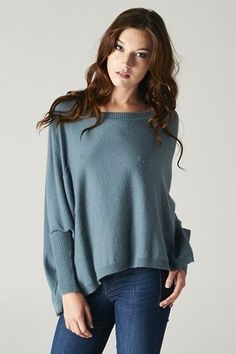 Dusty Teal Rectangle Sweater