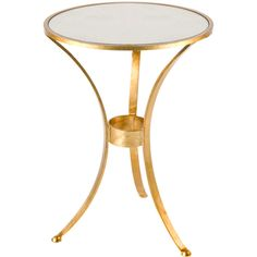 3 LEG GOLD PLAIN ROUND TABLE ❤ liked on Polyvore featuring home, furniture, tables, accent tables, gold table, gold accent table, gold furniture, gold leaf furniture and gold leaf table