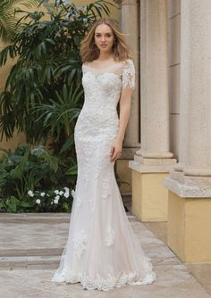 b827406f21f Sincerity Bridal - Style 44102  Beaded Lace Gown with Pop-In Off the  Shoulder