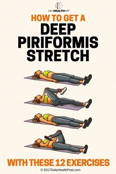 Lower back pain is very common and can be the result of a variety of causes.t usually the primary suspect but it occurs more often than one might think: constriction of the piriformis muscle. This small slim muscle is behind the gluteus Sciatica Stretches, Sciatic Pain, Sciatic Nerve, Piriformis Exercises, Hip Stretches, Piriformis Muscle, Back Pain Exercises, Stretching Workouts, Flexibility Exercises