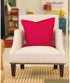 Pillows are an easy way to add accent colors and can be changed according to seasons, or to your heart's content. By adding a few colorful, patterned pillows to your space, you'll also add personality.