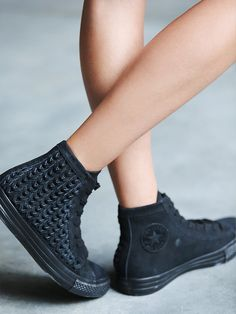 Free People Elevated Woven Chucks, €70.93. Classic high top Chucks, done in a tonal suede design with basket-weave detailing.
