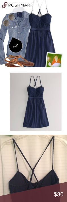 American Eagle Outfitters Lace Corset Dress Navy AEO lace corset sundress.  Perfect for date night. 100% Cotton. Soft cotton jersey. Floral Lace bodice.  Shaped corset top. Cross back adjustable straps.  Flared skirt. Worn once. American Eagle Outfitters Dresses