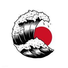 Most Popular Japanese Tattoo Art Design Ideas Japanese Tattoo Art, Japanese Tattoo Designs, Japanese Drawings, Tattoo Drawings, Art Drawings, Drawing On Wall, Japon Illustration, Japanese Illustration, Wave Art