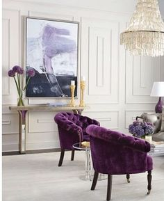 PURPLE LIVING ROOM The color of majesty, ambition and also magic, purple will bewitch your guests when chosen for a living room design. Get inspired! Living Room Interior, Living Room Decor, French Living Rooms, Salons Violet, Decor Interior Design, Interior Decorating, Decorating Ideas, Purple Chair, Decorating Rooms