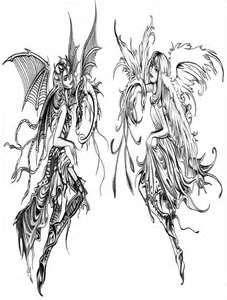 Good Evil Angels Tattoo Design By 13star On DeviantART
