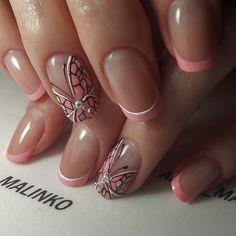 Winter Nails Designs - My Cool Nail Designs French Nail Designs, Pretty Nail Designs, Winter Nail Designs, Nail Art Designs, Nails Design, Butterfly Nail Designs, Butterfly Nail Art, Pink Butterfly, Winter Nails