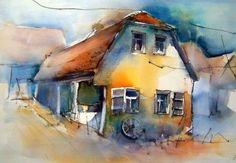 altes Landhaus, Aquarell 38 x 54 cm, Gudrun Röhm - - Helga Le. Watercolor Canvas, Watercolor Landscape, Landscape Paintings, Watercolor Paintings, Watercolour, Old Country Houses, Art For Art Sake, Art Challenge, Beautiful Artwork