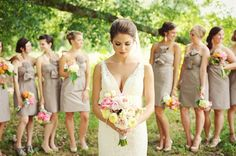 Southern wedding - brown bridesmaid dresses