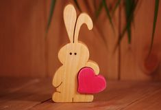 Little Bunny carrying lots of love, bunny, wooden toys, nursery decor, boyfriend gift, girlfriend gift, best friend gift, grandson baby gift