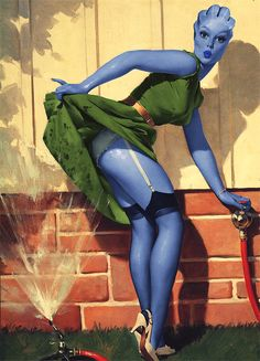 Asari Mass Effect Pin Up! Need this and love this so much. The Asari are beautiful.