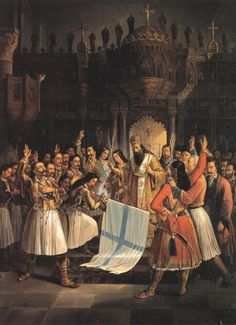 """""""Greeks celebrate the War of Independence against the Ottoman Empire. The """"Greek Revolution"""" was a successful war of independence waged by the Greek revolutionaries between 1821 and Patras, Greek History, Modern History, Family History, Greek Independence, Fall Of Constantinople, Benaki Museum, Greek Warrior, National Gallery"""