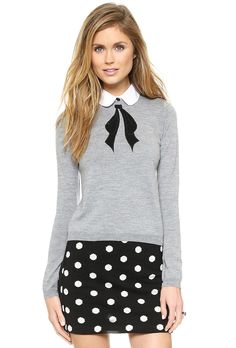 Grey Detachable Collar Black Bow Embroidery Sweater 27.00