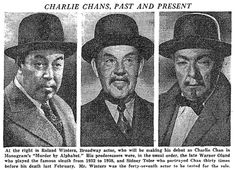 3 Charlie Chan actors: Warner Oland, Sidney Toler,  Roland Winters