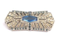 cca. 1930: Vintage Bohemian Crystal Rhinestone Pin   Strassbrosche Crystal/Saphirblau - Gablonz/Böhmen um 1930 - sc260