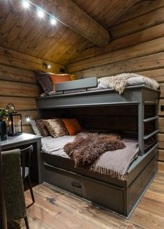 Cozy Cabin, Rustic Elegance, Log Homes, Hgtv, Bunk Beds, House Design, Bedroom, Furniture, Buildings