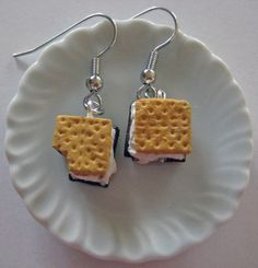 Smores Food Earrings   Miniature Food Jewelry by Artwonders, $12.50