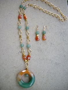 SALE Orange Green Carnelian Donut Pendant by DesignsbyPattiLynn