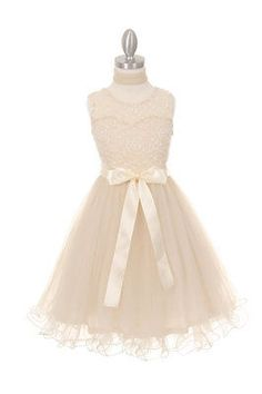 Satin and Tulle Flower Girl Dress Lace Wedding Pageant Communion Party Birthday