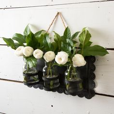 Hanging Tin Frame with Jars -Use this item to display greenery or flowers or use it in a bathroom to hold toiletry materials, such as cotton swabs or Q-tips.