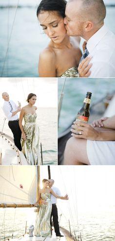 Glam engagement shoot on a vintage boat. Kinda cool *i love the liquid gold dress*