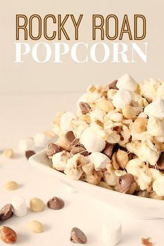 Rocky Road Popcorn from Six Sisters' Stuff   With the peanuts, chocolate, and marshmallows in this Rocky Road Popcorn – your mouth will be in for a real treat!