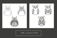 Owls collection + 1 seamless pattern by Mira15 on Creative Market