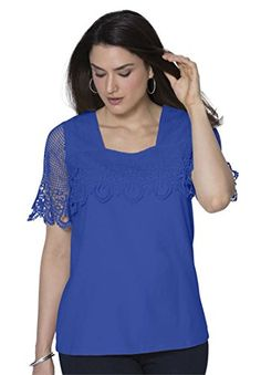 8eb62395db8 Jessica London Womens Plus Size Crochet Trim Tee Blue Sapphire2224 -- Learn  more by visiting