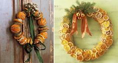 Dried Orange Slices Christmas Wreath - This is a great post, showing how to decorate your home for Christmas, using citrus fruits.  There are some great pictures using them & basic info on drying fruit to use in decorating.
