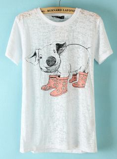 To find out about the White Short Sleeve Pig Print T-Shirt at SHEIN, part of our latest T-Shirts ready to shop online today! Latest T Shirt, Courses, Dress To Impress, White Shorts, Tee Shirts, Cute Outfits, Fashion Outfits, Pig Stuff, My Style