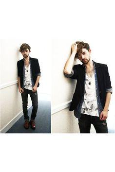 f639603228 black M S blazer - orange Vintage Brogues shoes - gray H M jeans - white  All Sai