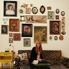 Amazing gallery wall made of vintage finds.