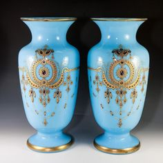 HUGE 14  Antique French Opaline Vase PAIR, Jeweled, Hand Painted, Gold Enamel