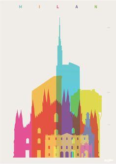 Yoni Alter. Original graphic art. Shapes of Milan.