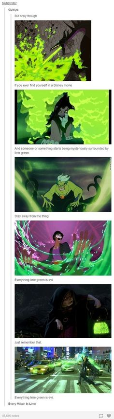 When they noticed this powerful trend that means if you see green, run like hell. | 22 Tumblr Posts That Prove Disney Has The Funniest Fans