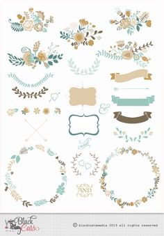 Flower frames and Lace Digital Clipart Ribbons and Frames for Wedding invitation Scrapbooking - turquoise cream - Instant Download - Eps PNG by BlackCatsMedia on Etsy https://www.etsy.com/listing/175887132/flower-frames-and-lace-digital-clipart
