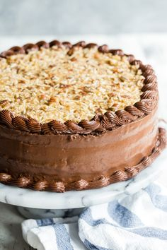This recipe for German chocolate cake turns up the dial on the chocolate and then gets a luscious frosting that's loaded with pecans and shredded coconut. Healthy Cake Recipes, Best Cake Recipes, Cupcake Recipes, Baking Recipes, Cupcake Cakes, Dessert Recipes, Cupcakes, Favorite Recipes, Köstliche Desserts