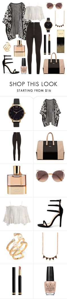 """""""Untitled #360"""" by angelicaaans ❤ liked on Polyvore featuring Olivia Burton, Balmain, Chloé, Sans Souci, Liliana, Hueb, Sydney Evan, Gucci and OPI"""