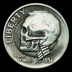 SETH BASISTA HOBO DIME - SKULL - 1956 ROOSEVELT DIME Hobo Nickel, Coins, Man Stuff, Roosevelt, Skulls, Thoughts, Art, Dibujo, Universe