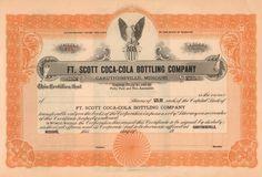 Ft Scott Coca-Cola Bottling Company stock certificate circa 1922 (Kansas)