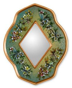 Reverse painted glass mirror, 'Green Summer Garden' by NOVICA